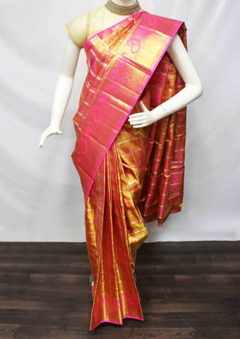 Golden with Pink Shade Wedding Silk Saree - 9KA3865 ARRS Silks