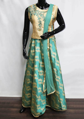Golden With Ramar Green Crop Tops - FM18898 ARRS Silks