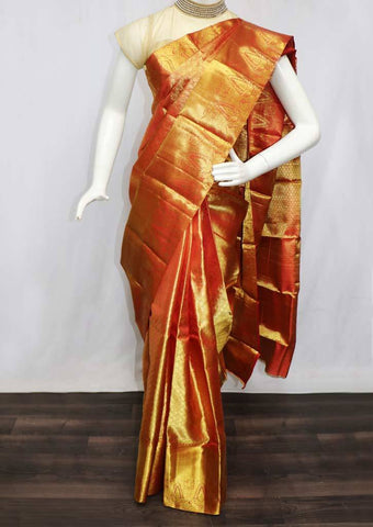 Golden with Red Shade Wedding Silk Saree - 9KA6195 ARRS Silks