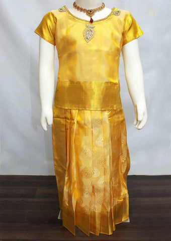 Golden Yellow Readymade Pure silk pavadai  - FP14250 (Age - 6 years) ARRS Silks