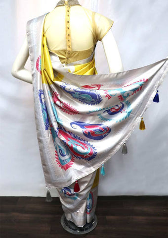 Golden Yellow  with Ash Color fancy soft silk saree  - FV21312 ARRS Silks