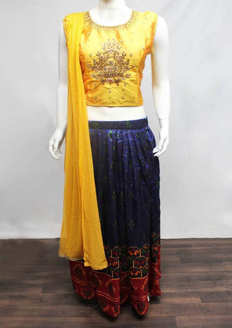 Golden yellow with Blue Crop Tops - FS20907 ARRS Silks
