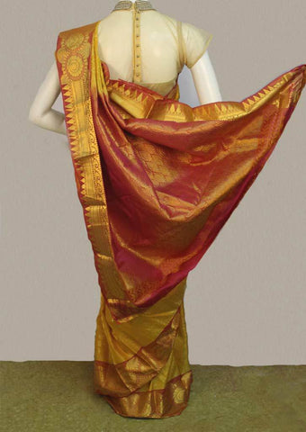 Golden Yellow with Pink Kanchipuram Silk Saree - FJ3359 ARRS Silks Salem