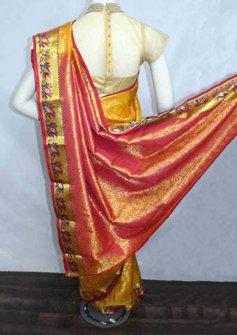 Golden Yellow With Red Semi Silk Saree- FF17090 ARRS Silks