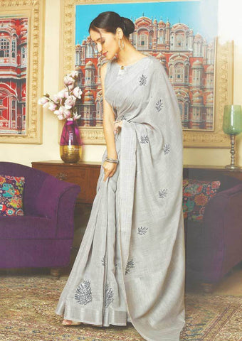 Gray Color Linen Saree - FS17479 ARRS Silks