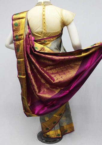 Gray Kanchipuram Silk Saree-FQ22754 ARRS Silks