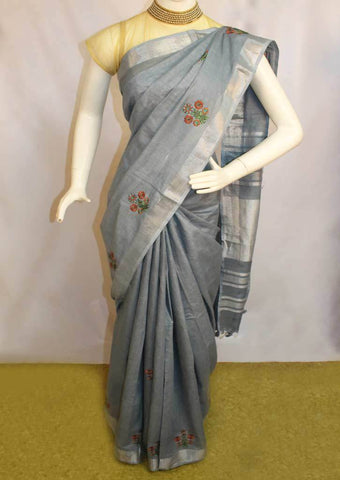 Gray  Linen Saree - FO44848 ARRS Silks