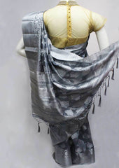 Gray Semi Raw Silk Saree-FQ116047 ARRS Silks