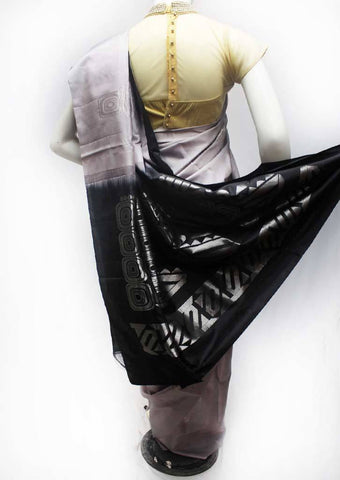 Gray with Black Soft Silk Saree - FQ111138 ARRS Silks
