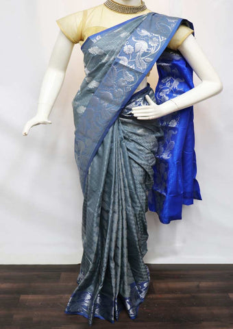 Gray With Blue  semi silk saree  - FZ35172 ARRS Silks