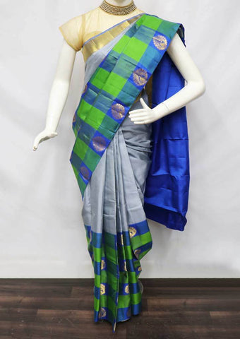 Gray with Double color Kanchipuram Silk Saree - 9KA2499 ARRS Silks