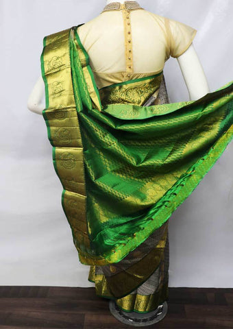 Gray with Green Kanchipuram Silk Saree -FU70894 ARRS Silks