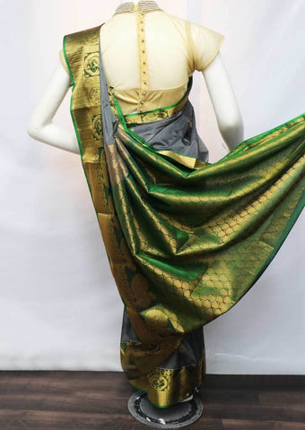 Gray With Green Silk Cotton Saree - FV28285 ARRS Silks