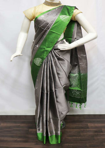 Gray With Green Soft Silk Saree - FQ110845 ARRS Silks
