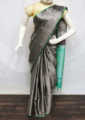 Gray With Green Soft Silk Saree - GA42016 ARRS Silks
