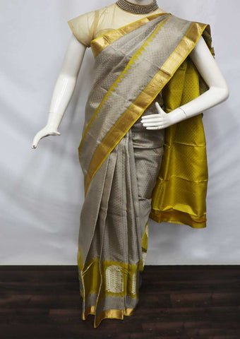 Gray With Lemon Green Kanchipuram Silk Saree - 9KA2543 ARRS Silks