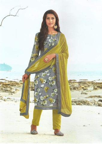 Gray With Light Green Unstitched Chudi - FM66558 ARRS Silks