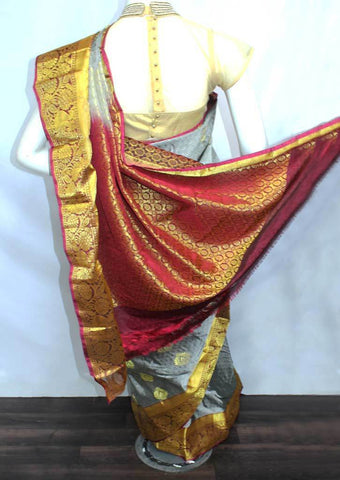 Gray with Maroon Semi Silk Saree- FN68729 ARRS Silks