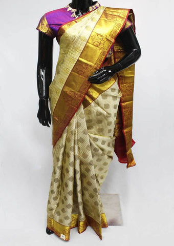 Gray with Maroon Wedding Silk Saree - 9KA238 ARRS Silks