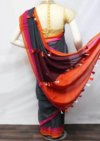 Gray With Multi Color Linen  Saree - FV32268 ARRS Silks