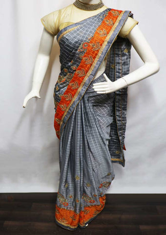 Gray With Orange Designer Saree - GH9627 ARRS Silks