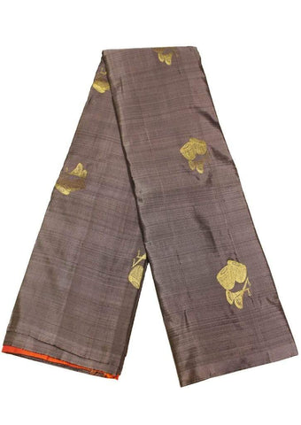 Gray with Orange Kanchipuram Silk Saree - EU3729 ARRS Silks