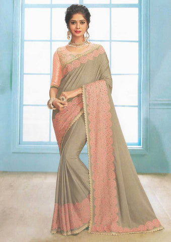 Gray with peach Color Fancy Saree-FS7565 ARRS Silks