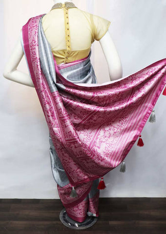 Gray with Pink fancy soft silk saree  - FV21309 ARRS Silks