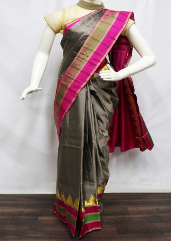Gray With Pink Kanchipuram Silk Saree - FF23194 ARRS Silks