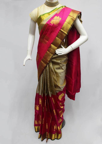 Gray with Pink Kanchipuram Silk Saree-FO6555 ARRS Silks