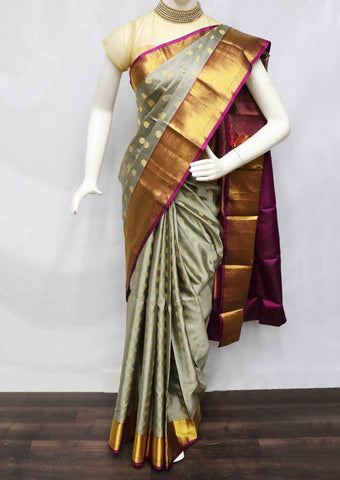 Gray With Pink Kanchipuram Silk Saree -FQ22675 ARRS Silks