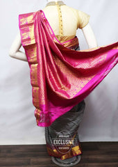 Gray with Pink Kanchipuram Silk Saree - FV3416 ARRS Silks