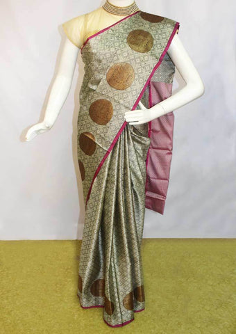 Gray with Pink Organza Cotton Sarees- FP10476 ARRS Silks