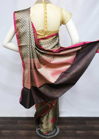 Gray with Pink Organza Cotton Sarees- FV26141 ARRS Silks