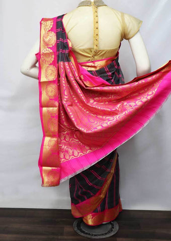 Gray with Pink Silk Cotton Saree - FV30587 ARRS Silks