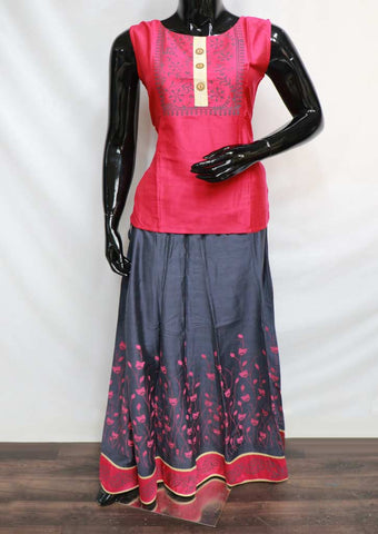 Gray With Pink Skirt & Tops - GE46127 ARRS Silks