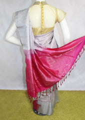 Gray with Pink Soft Silk Saree - FI7028 ARRS Silks