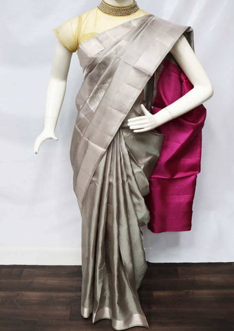 Gray with Pink Soft Silk Saree - FU45110 ARRS Silks