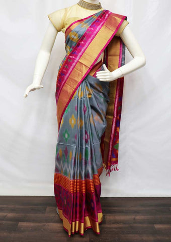 Gray With Pink Soft Silk Saree - FU45201 ARRS Silks