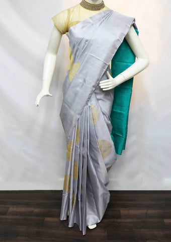 Gray with Ramar Blue Soft Silk Saree - FQ38475 ARRS Silks