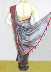 Gray with Red Fancy saree -FO6039 ARRS Silks