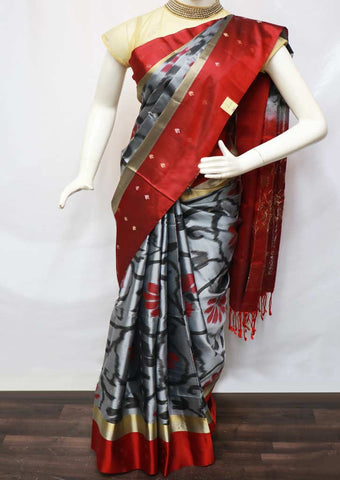 Gray With Red Soft Silk Saree -GE53890 ARRS Silks
