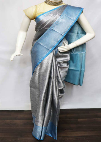 Gray with Sky Blue Organza Cotton Sarees- FV26107 ARRS Silks