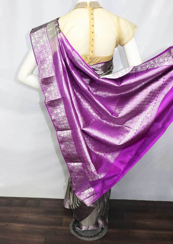 Gray with Violet  Kanchipuram Silk Saree -FQ31433 ARRS Silks