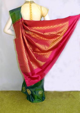 Green and purple shade with Pink Kanchipuram Silk Saree - FL181 ARRS Silks