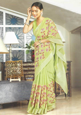 Green Color Linen Saree - FS17474 ARRS Silks