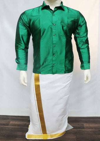 Green Full Hand Silk Cotton Shirt - FT5859 ARRS Silks