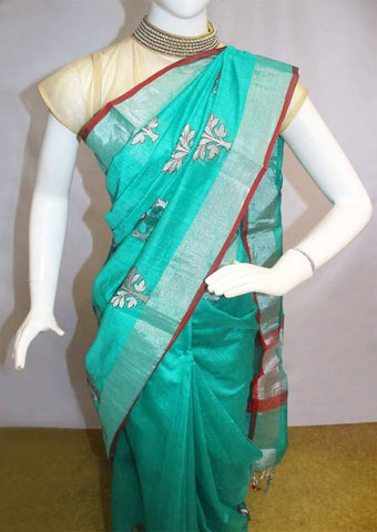 Green  Linen  Saree - FL39482 ARRS Silks