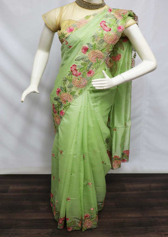 Green Organza Cut Work Linen Saree -GC2188 ARRS Silks