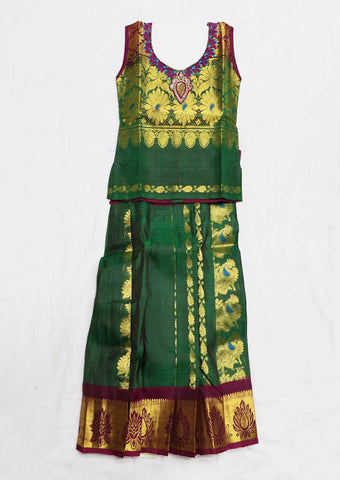 Green Pure silk Stitched pattu pavadai - FU682 ( Age-1 year and below) ARRS Silks